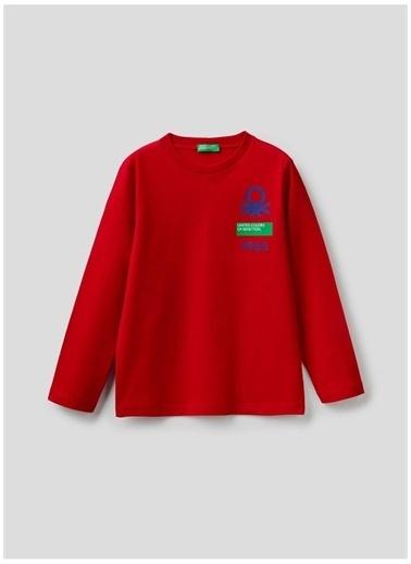 Benetton Benetton 322113I1Xc151S Pamuklu Bisiklet Yaka Uzun Kollu Baskılı  Erkek T-Shirt Kırmızı